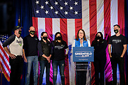 03 NOVEMBER 2020 - DES MOINES, IOWA: Surrounded by family, THERESA GREENFIELD, the Democratic candidate for the US Senate, delivers her concession speech at the Renaissance Des Moines Savery Hotel after her loss in the race for the US Senate. Greenfield conceded to incumbent Republican Sen. Joni Ernst at about 11:45PM November 3.    PHOTO BY JACK KURTZ