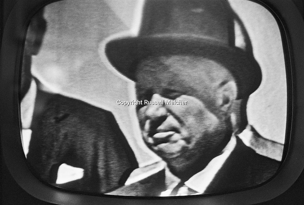TV image of Khrushchev's visit. <br /> His visit was covered extensively.<br /> <br /> Image TV de la visite de Khrouchtchev .<br /> Sa visite a été tres largement couvert par les medias Americains.