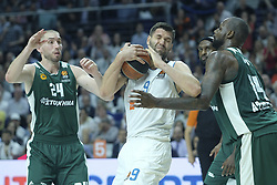 April 25, 2018 - Madrid, Madrid, Spain - FELIPE REYES  of Real Madrid during the Turkish Airlines Euroleague play-off quarter final series third match between Real Madrid and Panathinaikos Superfoods at the Wizink Center in Madrid, Spain on April 25, 2018  (Credit Image: © Oscar Gonzalez/NurPhoto via ZUMA Press)