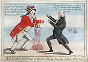 War of 1812 (Anglo-American War 1812-1815): 'The Boxing Match, or Another Bloody Nose for John Bull'. George III wounded by James Madison, triumphant at the loss of British ships. William Charles (1776-1820) Scottish-American