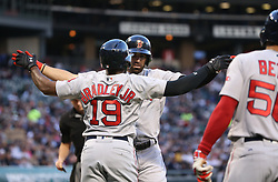 May 30, 2017 - Chicago, IL, USA - The Boston Red Sox's Deven Marrero celebrates with teammate Jackie Bradley Jr. (19) after Marrero hita two-run home run in the second inning against the Chicago White Sox at Guaranteed Rate Field in Chicago on Tuesday, May 30, 2017. (Credit Image: © Chris Sweda/TNS via ZUMA Wire)