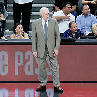 03 May 2017: San Antonio Spurs head coach Gregg Popovich is seen during the San Antonio Spurs 121-96 victory over the Houston Rockets, in game 2 of the Western Conference Semi Finals, at the AT&T Center, San Antonio, Texas, USA.