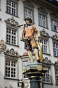 William Tell statue in medieval Old Town of Schaffhausen, Switzerland, Europe.