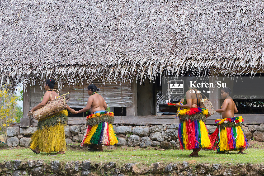 Yapese women in traditional clothing in the village, Yap Island, Federated States of Micronesia