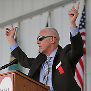 CANASTOTA, NY - JUNE 14: Boxing columnist Nigel Collins speaks during the induction ceremony at the International Boxing Hall of Fame induction Weekend of Champions events on June 14, 2015 in Canastota, New York. (Photo by Alex Menendez/Getty Images) *** Local Caption *** Nigel Collins