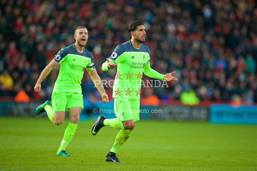 BOURNEMOUTH, ENGLAND - Sunday, December 4, 2016: Liverpool's Emre Can celebrates scoring the third goal against AFC Bournemouth during the FA Premier League match at Dean Court. (Pic by David Rawcliffe/Propaganda)