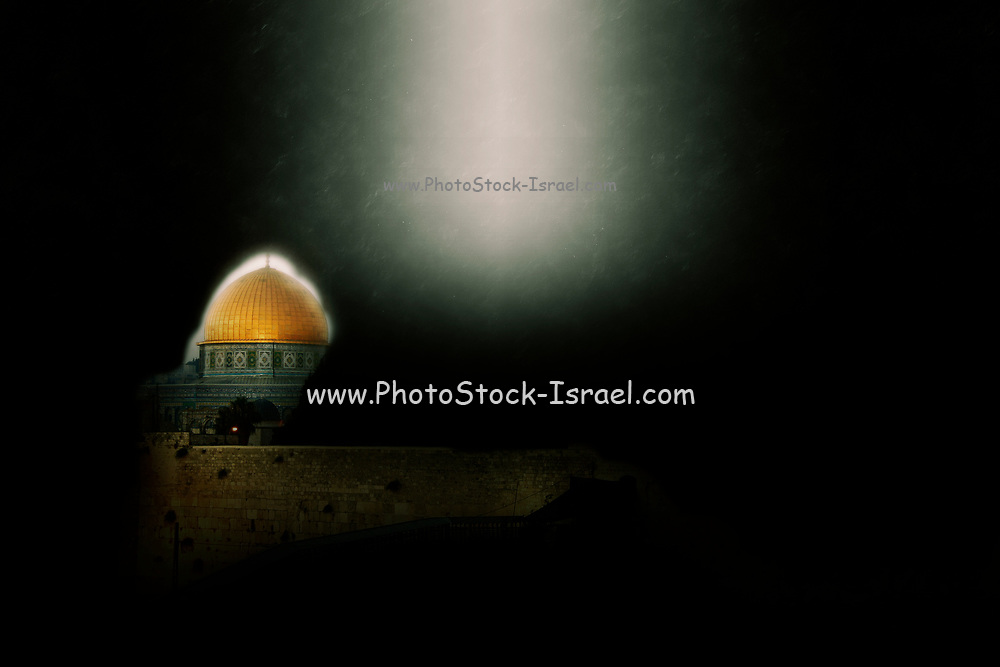 Israel, Jerusalem, Digitally enhanced image of the Wailing Wall and Dome of the Rock