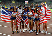 Sep 1, 2007; Osaka, JAPAN; The USA men's and womens 4 x 100m pose after victories in the 11th IAAF World Championships at Nagai Stadium. Front row from left: Allyson Felix, Lauryn Williams, Torri Edwards and Mikele Barber. Back row: Leroy Dixon, Darvis Patton, Tyson Gay and Wallace Spearmon.