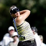 Pro golfer Maria Hjorth tees off at the Kraft Nabisco Championship in Rancho Mirage, CA.