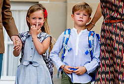 Prince Vincent and Princess Josephine of Denmark poses outside Amalienborg palace in Copenhagen, Denmark, on Tuesday August 15, 2017. Prince Vincent and Princess Josephine, both born in 2011, begin in grade 0 at Tranegard School in Hellerup on Tuesday. The twins are the youngest children of the crown princely couple. Photo by Robin Utrecht/ABACAPRESS.COM