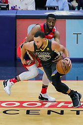 May 6, 2018 - New Orleans, LA, U.S. - NEW ORLEANS, LA - MAY 06:  Golden State Warriors guard Stephen Curry (30) dribbles against New Orleans Pelicans during game 4 of the NBA Western Conference Semifinals at Smoothie King Center in New Orleans, LA on May 06, 2018.  (Photo by Stephen Lew/Icon Sportswire) (Credit Image: © Stephen Lew/Icon SMI via ZUMA Press)
