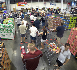 Shoppers at Costco in Altamonte Springs, FL, USA., wait in line to checkout during preparations for the anticipated arrival of Hurricane Irma on Wednesday, September 6, 2017. Photo by Joe Burbank/Orlando Sentinel/TNS/ABACAPRESS.COM