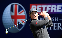 England's Eddie Pepperell tees off the 2nd during day three of the Betfred British Masters at Hillside Golf Club, Southport.