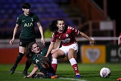 Laura Rafferty of Bristol City Women is challenged by Siri Worm of Tottenham Hotspur Women - Mandatory by-line: Ryan Hiscott/JMP - 14/11/2020 - FOOTBALL - Twerton Park - Bath, England - Bristol City Women v Tottenham Hotspur Women - Barclays FA Women's Super League