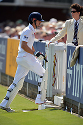 © Licensed to London News Pictures. 18/07/2013. England's Nick Cook leaves the field after his dismissal. n during Second Test England v Australia The Ashes Lord's Cricket Ground, London. Photo credit: Mike King/LNP
