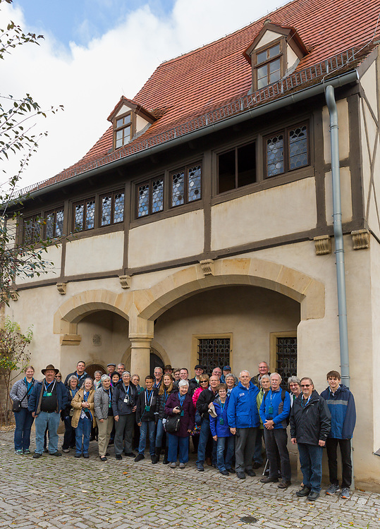 A portion of the tour poses as a group in front ofthe birthplace of Martin Luther in Eiselben, Germany.