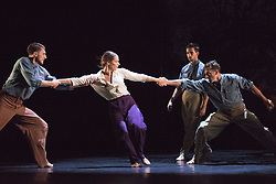 © Licensed to London News Pictures. 05/10/2015. London, UK. L-R: Simone Donati, Jennifer White, Matthew Sandiford and Matthew Rees. BalletBoyz return to Sadler's Wells with their programme Young Men, a portrayal of love, loss and survival set against the backdrop of war. Produced by BalletBoyz artistic directors Michael Nunn and William Trevitt, Young Men is choregraphed by Ivan Perez and features an original score by Keaton Henson. Photo credit: Bettina Strenske/LNP