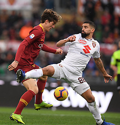 ROME, Jan. 20, 2019  AS Roma's Nicolo Zaniolo (L) vies with Torino's Tomas Rincon (R) during the Serie A soccer match between AS Roma and Torino in Rome , Italy, Jan.19, 2019. AS Roma won 3-2. (Credit Image: © Alberto Lingria/Xinhua via ZUMA Wire)