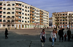 Wonsan, North Korea, April/May 2004. Street scene in Wonsan, a port city on the east coast of North Korea. (Photo by Teun Voeten) *** Please Use Credit from Credit Field ***