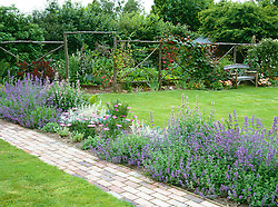 Looking over a border of Nepeta 'Six Hills Giant' towards the vegetable garden enclosed by rustic wooden screen.