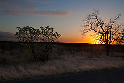 Sunset over landscape, Kruger National Park, South Africa