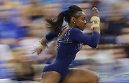 Redshirt junior Brittani McCullough sprints before performing a vault during fifth-ranked UCLA's 196.600-195.125 victory over second-ranked Utah in front of 5,128 fans in Pauley Pavilion in Los Angeles on Saturday, Jan. 9, 2010.
