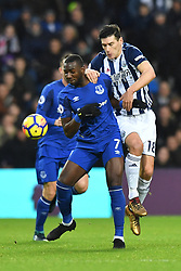 Everton's Yannick Bolasie (left) and West Bromwich Albion's Gareth Barry compete for possession