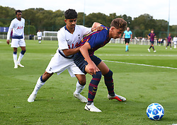 October 3, 2018 - London, England, United Kingdom - Enfield, UK. 03 October, 2018.L-R Dilan Markanday of Tottenham Hotspur and Jose Martinez Marsa of FC Barcelona.during UEFA Youth League match between Tottenham Hotspur and FC Barcelona at Hotspur Way, Enfield. (Credit Image: © Action Foto Sport/NurPhoto/ZUMA Press)