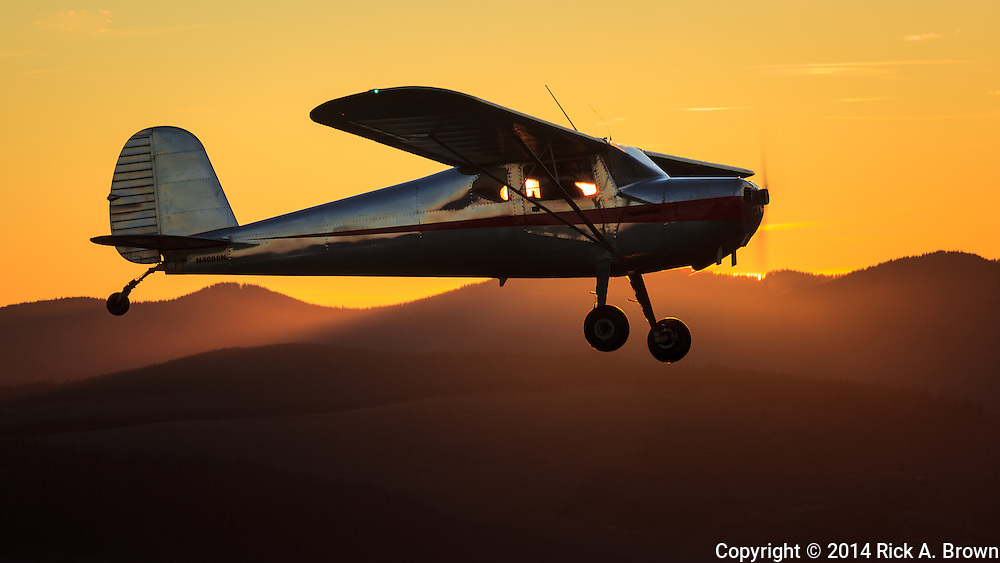 Cessna 140 flying at sunset.
