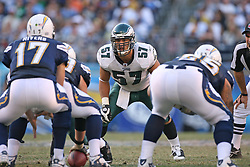 SAN DIEGO, CA - NOVEMBER 15: Chris Gocong of the Philadelphia Eagles during a game against the San Diego Chargers on November 14, 2009 at Qualcomm Stadium in San Diego, California. The Chargers won 31-23. (Photo by Hunter Martin)