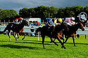 Prince Rock ridden by Tom Marquand and trained by Simon Dow in the Kingstone Press Apple Maiden Handicap (Class 6) race. Praxedis ridden by Pat Cosgrove and trained by Robert Cowell in the Kingstone Press Apple Maiden Handicap (Class 6) race. Kellington Kitty ridden by Daniel Muscutt and trained by Mike Murphy in the Kingstone Press Apple Maiden Handicap (Class 6) race.  - Ryan Hiscott/JMP - 17/08/2019 - PR - Bath Racecourse - Bath, England - Race Meeting at Bath Racecourse