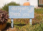 Obrigada thank you sign Portuguese and English languages, Cerca do Sul, Brejão, Alentejo Littoral, Portugal, Southern Europe