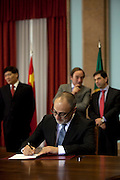 Joaquim Reis.<br /> The president of China Three Gorges electric company, Cao Guangjing; the chairman of the board of Parpública, Joaquim Reis, and António Mexia, chairman of the Board of EDP signed an agreement that gives the first formal step for the acquisition of a state share of 21.35% in the EDP, the portuguese electric company.