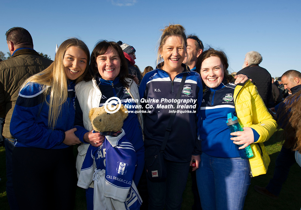 20-10-19. Kiltale v Kildalkey- Meath SHC Final (Replay) at Pairc Tailteann.<br /> Kildalkey supporters from left, Katie Smith, Ireanus Cully, Michelle Smith and Danielle Browne.<br /> Photo: John Quirke / www.quirke.ie<br /> ©John Quirke Photography, Unit 17, Blackcastle Shopping Cte. Navan. Co. Meath. 046-9079044 / 087-2579454.
