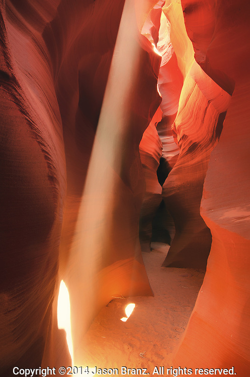 Light beam in a remote slot canyon in northern Arizona.