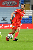 Football - 2020 / 2021 UEFA Nations League - Group B4 - Wales vs Bulgaria<br />      <br /> Tom Lockyer of Wales defends <br /> in a match played with no crowd due to Covid 19 coronavirus emergency regulations, in an almost empty ground, at the Cardiff City Stadium.<br /> <br /> COLORSPORT/WINSTON BYNORTH
