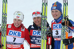 Second placed Kikkan Randall of USA, winner and the world champion Arianna Follis of Italy and third placed Pirjo Muranen of Finland at Ladies` Sprint Free Finals Cross-country race at  FIS Nordic World Ski Championships Liberec 2008, on February 24, 2009, Vestec, Liberec, Czech Republic. (Photo by Vid Ponikvar / Sportida)