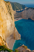 """High angle view of Navagio, """"Shipwreck"""" Beach, Zakynthos Island in the Ionian Sea, , Greece. The ship is the Panagiotis that was wrecked in 1980"""
