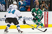 DALLAS, TX - OCTOBER 17:  Vernon Fiddler #38 of the Dallas Stars controls the puck against the San Jose Sharks on October 17, 2013 at the American Airlines Center in Dallas, Texas.  (Photo by Cooper Neill/Getty Images) *** Local Caption *** Vernon Fiddler