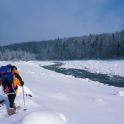 Snowshoeing along the Connecticut River between Lake Francis and First Connecticut Lake.  Northern Forest.  Pittsburg, NH