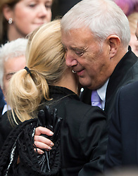 © Licensed to London News Pictures. 23/11/2016. London, UK. KIM LEADBEATER, sister of Jo Cox hugs her father GORDON LEADBEATER, outside the Old Bailey in London where a guilty verdict was returned in the murder trial of Labour MP Jo Cox. Thomas Mair was found guilty of shooting and stabbing the mother-of-two in Birstall, West Yorkshire, on 16 June. Photo credit: Ben Cawthra/LNP