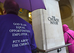 © Licensed to London News Pictures. 21/11/2012. westminster, UK A man wearing a t shirt at Church House in Westminster, London for day three of the three-day Church of England General Synod. Members last night voted against ordaining women as priests.. Photo credit : Stephen Simpson/LNP