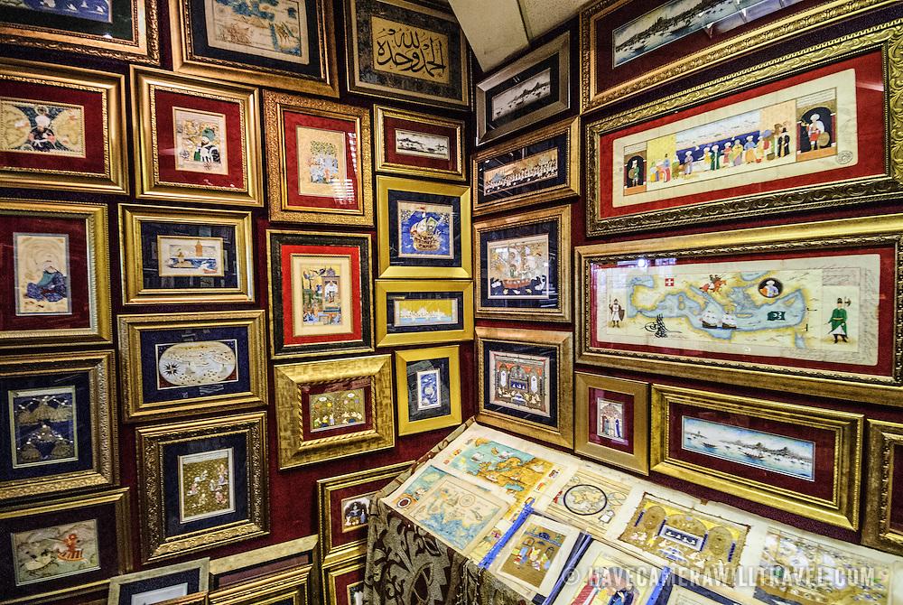 Illuminations and illustrations on display on the walls of the Sahaflar Çars (Antique Book Bazaar) next o the Grand Bazaar in Istanbul, Turkey.