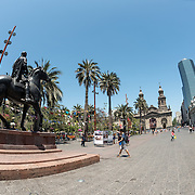 An equestian statue of Valdivia, the Spanish conquistador who founded Santiago in 1541, in Plaza de Armas in the center of Santiago de Chile.