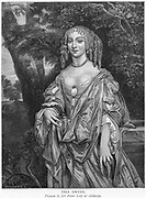 Nell Gwyn (c1650-1687), English comic actress: mistress of Charles II.  Engraving.