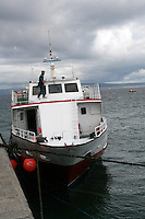passenger ferry boat at Inis Oirr the Aran Islands in Galway Ireland