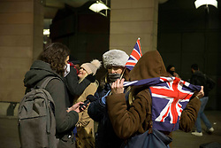 © Licensed to London News Pictures.31/12/2020, London, UK. Brexit supporters gather Westminster in central London to celebrate, the day Britain leaves the European Union. The countdown begin in Brussels at midnight UTC thus, 11pm GMT in London. Photo credit: Marcin Nowak/LNP