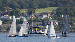 Largs Regatta Festival 2019<br /> <br /> Light airs on the Dinghy Start of Round Cumbrae