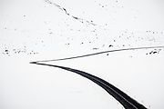 Road in snow landscape, Snaefellness Peninsula, Iceland
