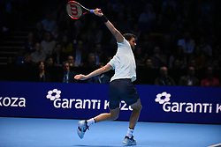November 17, 2017 - London, England, United Kingdom - Grigor Dimitrov of Bulgaria plays a forehand in his Singles match against Pablo Carreno Busta of Spain during day six of the Nitto ATP World Tour Finals at O2 Arena on November 17, 2017 in London, England. Grigor Dimitrov of Bulgaria wins his Singles match against Pablo Carreno Busta of Spain on day six of Nitto ATP World Tour Finals at the O2 Arena. (Credit Image: © Alberto Pezzali/NurPhoto via ZUMA Press)